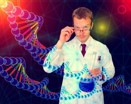 Medical Doctor Performing DNA Analysis and Sequencing - Illustration - Free Stock Photo