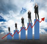 Free Photo - Capital Appreciation - Businessmen on Bar Chart with Arrow