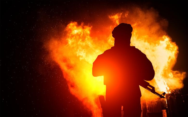 Free Stock Photo of Armed Man with Background Explosion Created by Jack Moreh