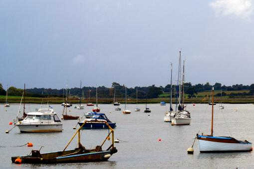Yachts and boats on the River Deben - Free Stock Photo