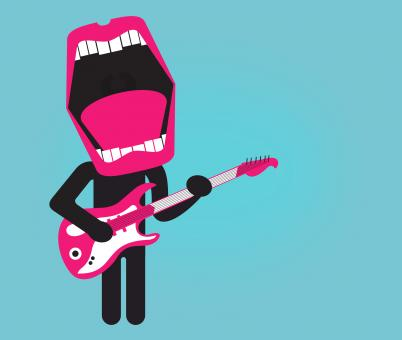 Stylized singer playing electric guitar - Free Stock Photo