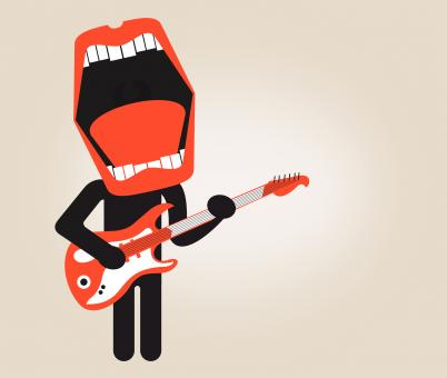 Singer playing electric guitar - Stylized looks - Free Stock Photo