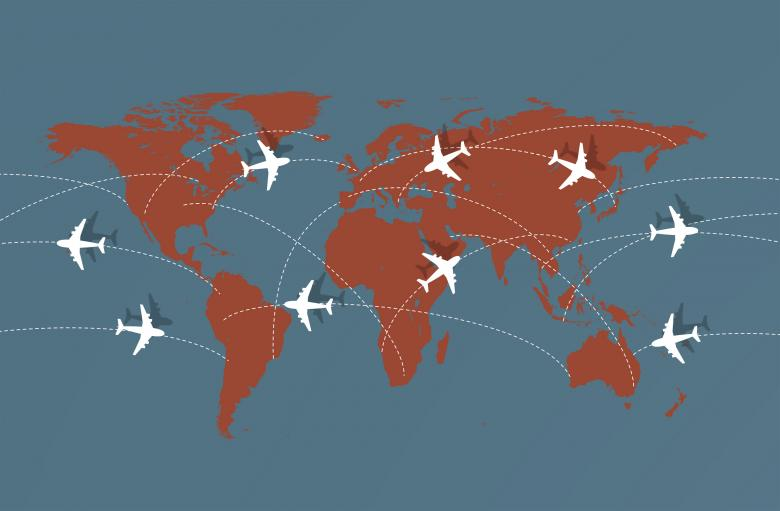 Flying Across The Globe - Air Travel Illustration Free Photo