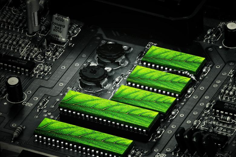 Clean Technologies - Motherboard and Green Leaves - Free Computer Stock Photos
