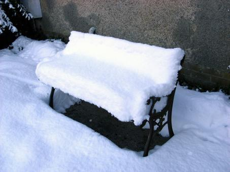 Snow-covered garden seat - Free Stock Photo