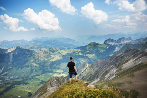 Hiker on the top - Free Stock Photo