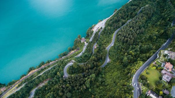 Aerial View of Curvy Road - Free Stock Photo