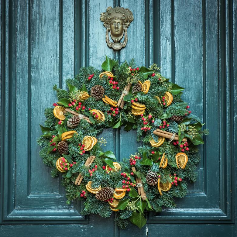 Christmas Door Decoration - Free Christmas Stock Photos