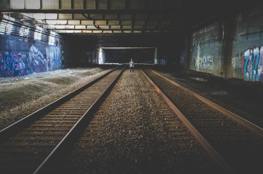 Alone in Train Tunnel - Free Stock Photo