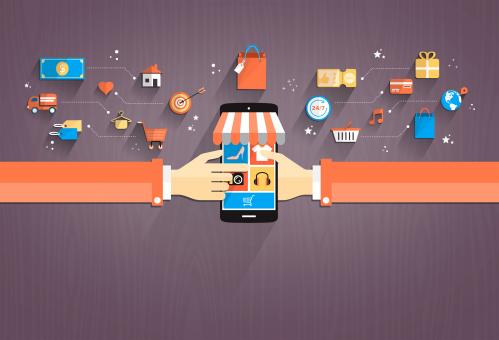 Shopping with Smartphone Flat Design - Free Stock Photo