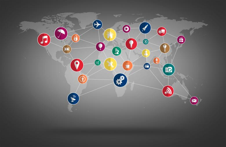 Free Stock Photo of World Map with Technology Icons Mesh Created by Jack Moreh