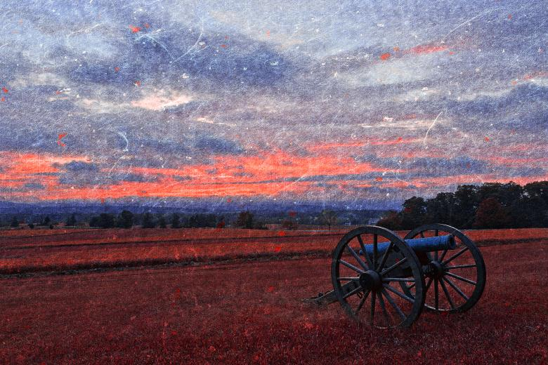 Free Stock Photo of Gettysburg Cannon Sunset - Ruby Rapture Created by Nicolas Raymond