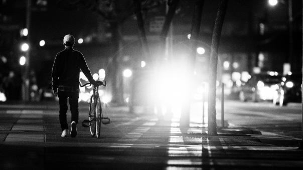 Walking the Bike in the City - Free Stock Photo
