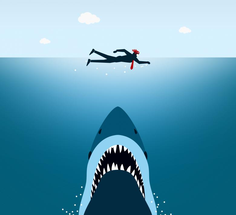 Free Stock Photo of  Businessman Under Shark Attack - Jaws Created by Jack Moreh