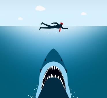 Businessman Under Shark Attack - Jaws - Free Stock Photo