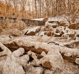 Free Photo - Frozen Sunset Waterfall - Sepia Nostalgia