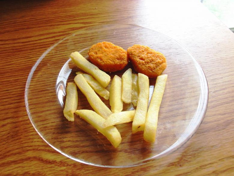 Free Stock Photo of French fries chicken nuggets Created by David M