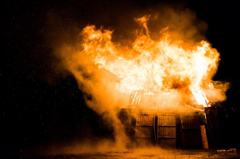 Wooden Shed in Flames - Free Fire Stock Photos
