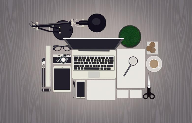 Free Stock Photo of Working Desk for Creative Professions - Mock Up Created by Jack Moreh