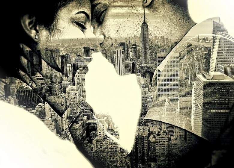 Free Stock Photo of Couple in love Kissing over New York - Double Exposure Effect Created by Jack Moreh