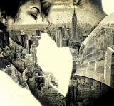 Free Photo - Couple in love Kissing over New York - Double Exposure Effect
