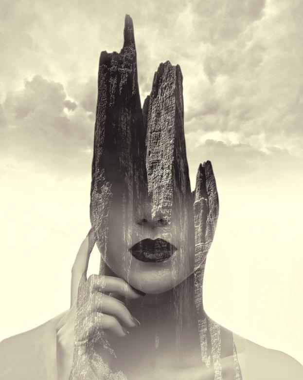 Thoughtful Woman on the Mountain Face - Free Multiple Exposure Stock Photos