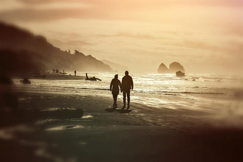 Couple on the Beach - Free Love Stock Photos