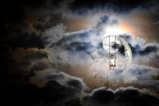 Swinging in front of the moon - Free Stock Photo