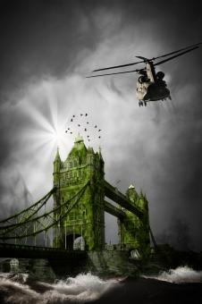 Flying over the London Bridge  - Free Stock Photo