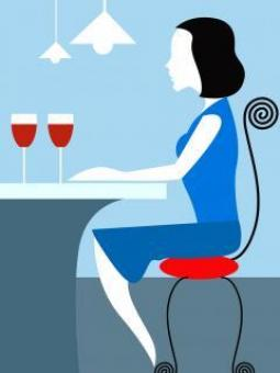 Lady and Wine - Vector Illustration - Free Stock Photo