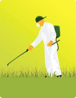 Masked man pumping pesticide - Vector Illustration - Free Stock Photo
