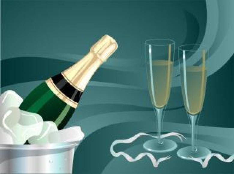 Free Stock Photo of Champagne Bottle and Glass Goblet Created by maa illustrations