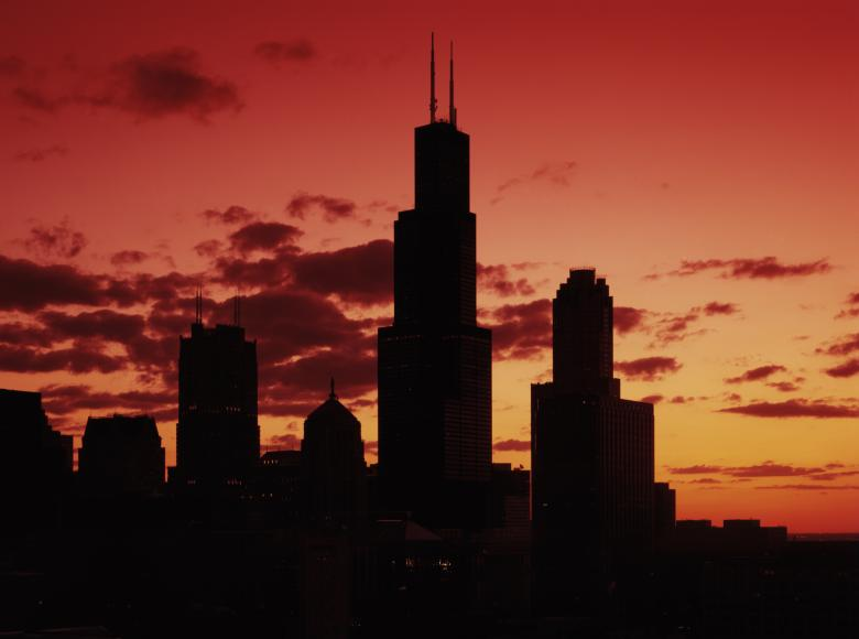 Free stock image of Chicago Sunset created by Pixabay