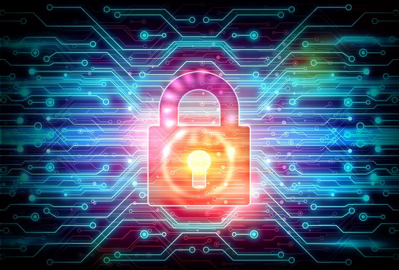 Free Stock Photo of Digital Padlock on Circuit Background Created by Jack Moreh