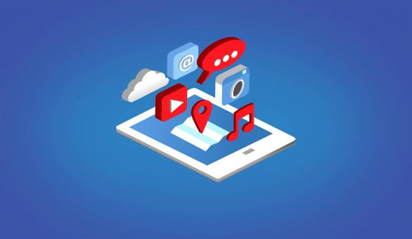 Apps on Tablet - Isometric Design - Free Stock Photo