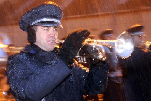 Trumpeter in the Rain - Free Stock Photo