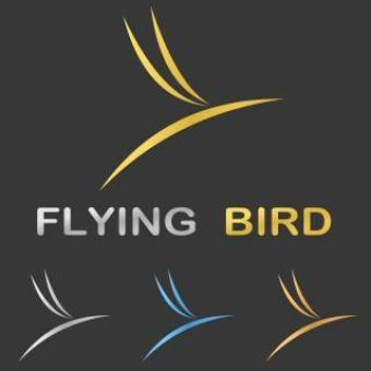 Metallic Stylized Flying Bird Logo Design - Free Stock Photo