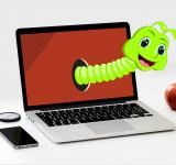 Free Photo - Worm Cartoon and Apple