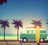 Free Photo - End of Summer - Illustration with Surfers Van with Copyspace