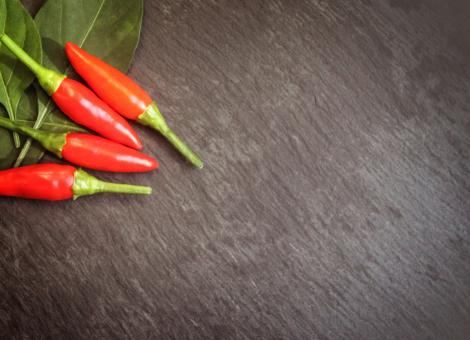 Red Chilli Peppers - Top View with Copyspace - Free Stock Photo