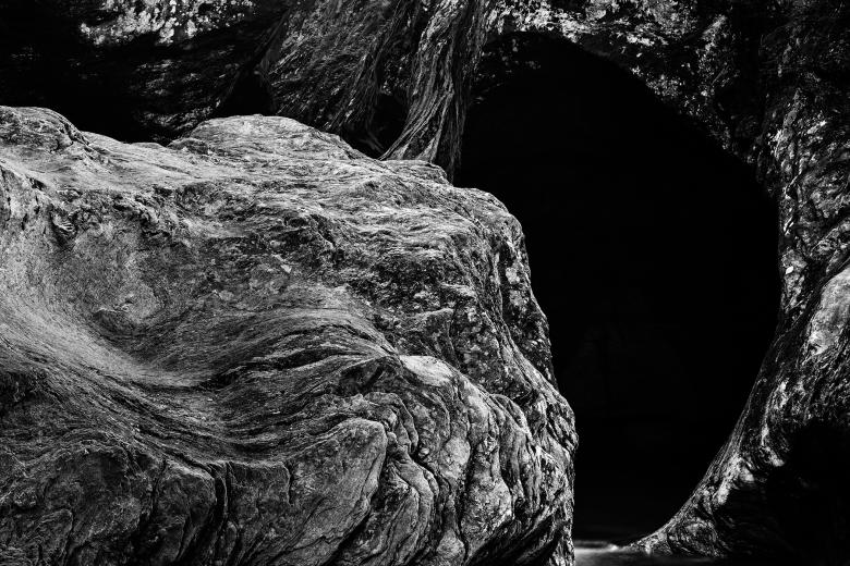 Gobble Rock Cave - Black & White HDR - Free Grunge Backgrounds
