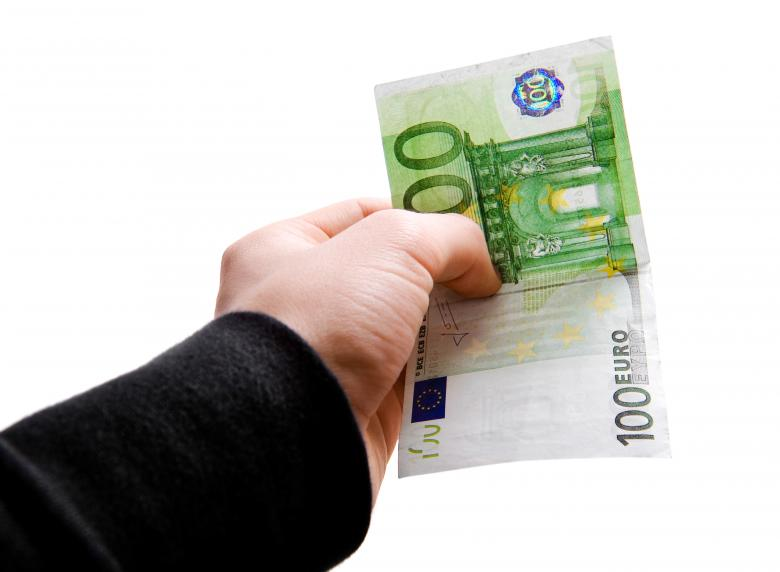 Free Stock Photo of Hand with euro