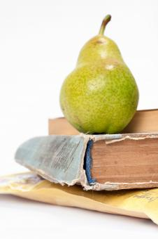 book and pear - Free Stock Photo