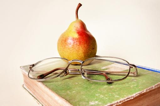 book, glasses and pear - Free Stock Photo