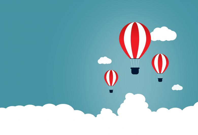 Creative Start and Start-Up Concept with Hot Air Balloons - Free Travel Illustrations