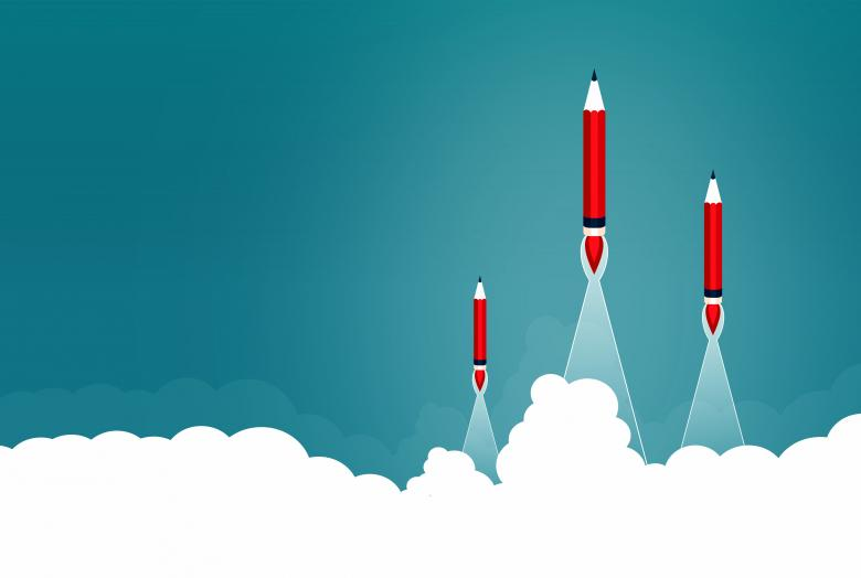 Creative Start and Start-Up Concept with Rocket Pencils