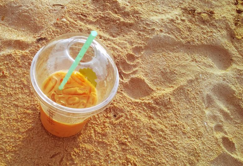 Free Stock Photo of Ice Coffee on the Beach