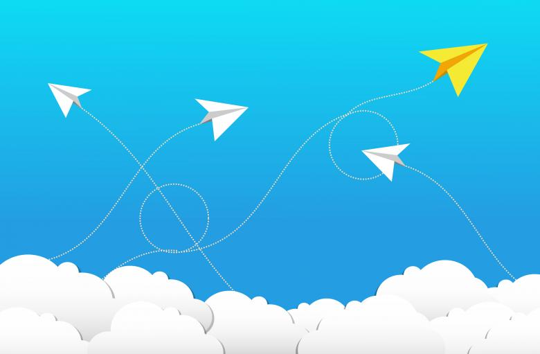 Free Stock Photo of Flying Paper Planes and Clouds - Cloud Computing Concept Created by Jack Moreh