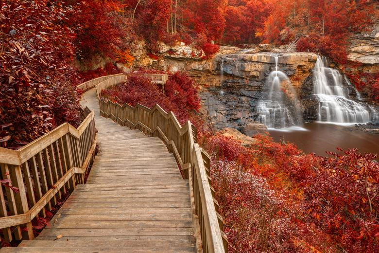 Free Stock Photo of Winding Blackwater Falls - Autumn Fantasy HDR Created by Nicolas Raymond