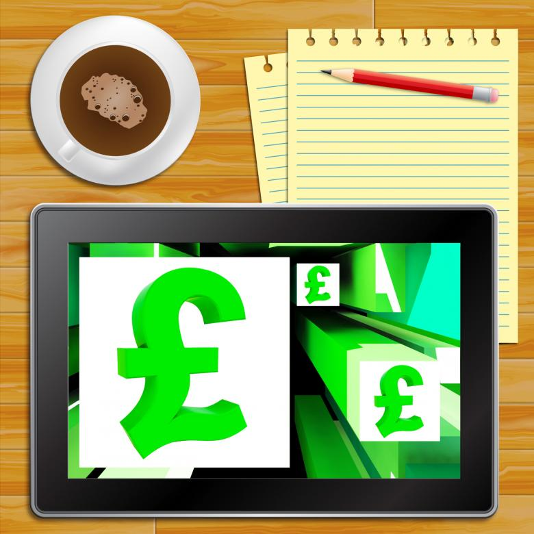Pound Symbol On Cubes Shows Britain Currency Tablet Free Stock